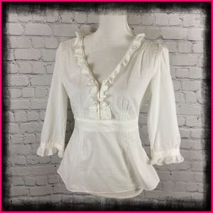 BANANA REPUBLIC OFF WHITE RUFFLE TOP